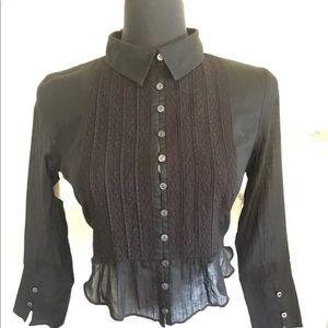 Free people crop black  blouse size xs